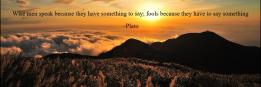 Wise men speak because they have something to say; fools because they have to say something ~Plato