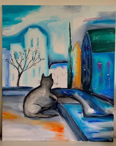 Amsterdam Blue Toned Cat - Art By M.E.