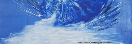BLEU BLUE         - encaustic art-