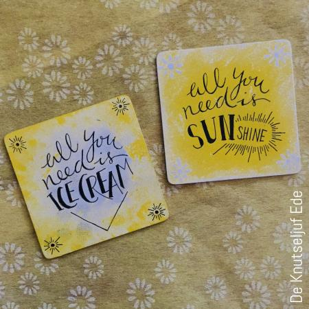 De Knutseljuf Ede - Zomerse onderzetters met handlettering - All you need is Ice Cream & Sunshine